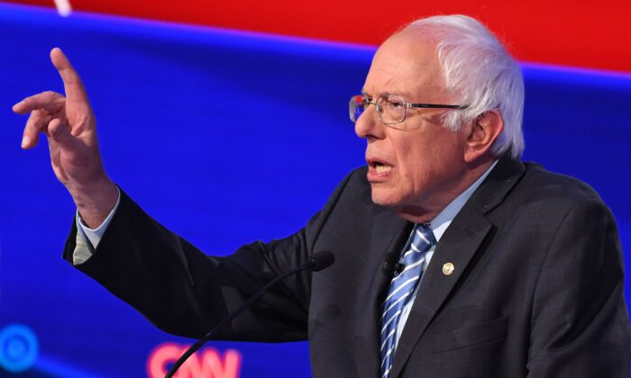 Sen. Bernie Sanders (I-Vt.) participates during the fourth Democratic primary debate of the 2020 presidential campaign season at Otterbein University in Westerville, Ohio on Oct. 15, 2019. (Saul Loeb/AFP via Getty Images)