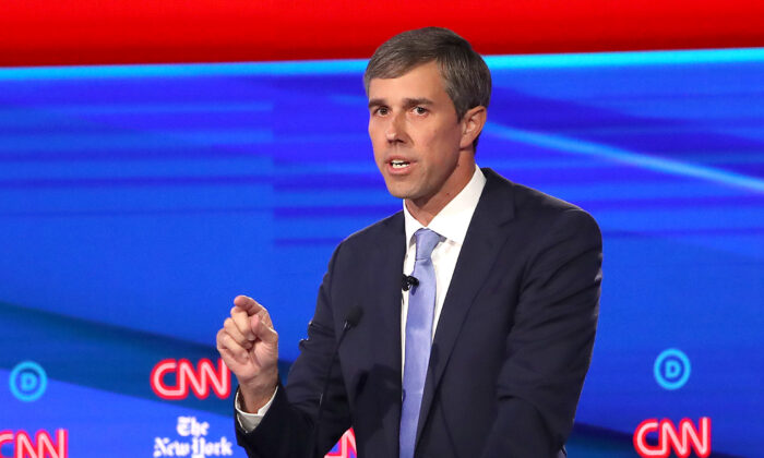 Former Texas congressman Beto O'Rourke speaks during the Democratic Presidential Debate at Otterbein University in Westerville, Ohio on Oct. 15, 2019. (Photo by Win McNamee/Getty Images)