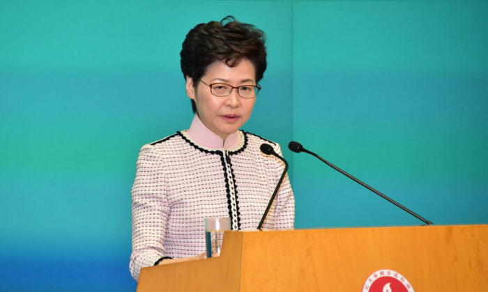 Hong Kong leader Carrie Lam speaks at a press conference at the Central Government Complex after her annual policy speech in Hong Kong on Oct. 16, 2019. (Bill Cox/The Epoch Times)