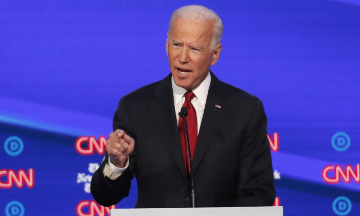 Democratic presidential candidate former Vice President Joe Biden speaks in a Democratic presidential primary debate hosted by CNN and The New York Times at Otterbein University in Westerville, Ohio on Oct. 15, 2019. (AP Photo/John Minchillo)