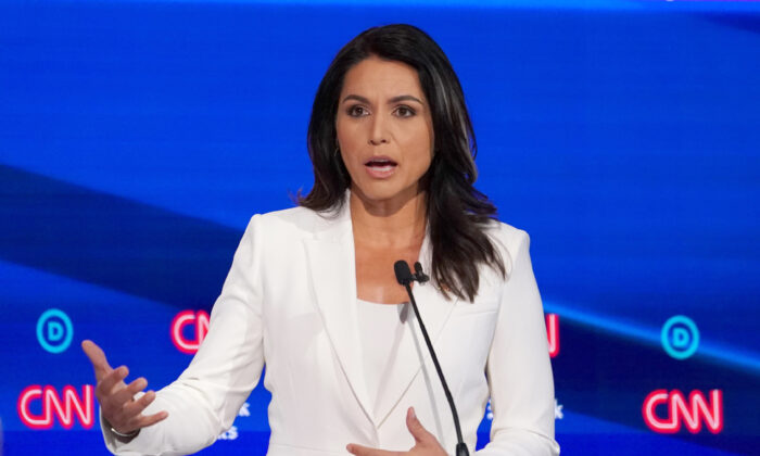 Democratic presidential candidate Rep. Tulsi Gabbard (D-Hawaii) speaks during the fourth Democratic 2020 debate in Westerville, Ohio, on Oct. 15, 2019. (Shannon Stapleton/Reuters)