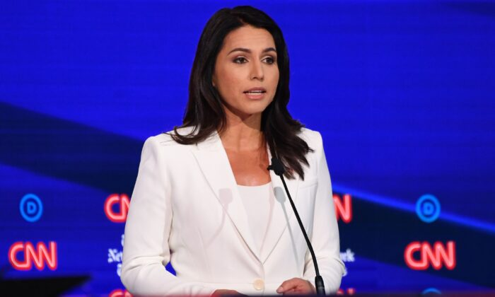 Democratic presidential hopeful Rep. Tulsi Gabbard (D-Hawaii) speaks during the fourth Democratic primary debate of the 2020 presidential campaign season at Otterbein University in Westerville, Ohio on Oct. 15, 2019. (Saul Loeb/AFP via Getty Images)