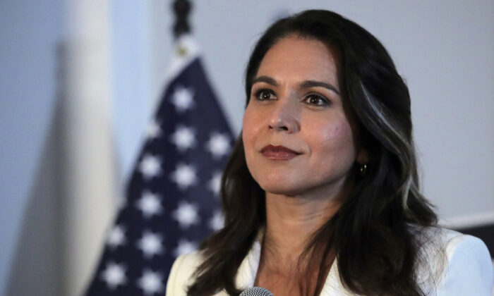 Former Democratic presidential candidate Rep. Tulsi Gabbard (D-Hawaii) listens to a question during a campaign stop in Londonderry, N.H., on Oct. 1, 2019. (Charles Krupa/AP Photo)