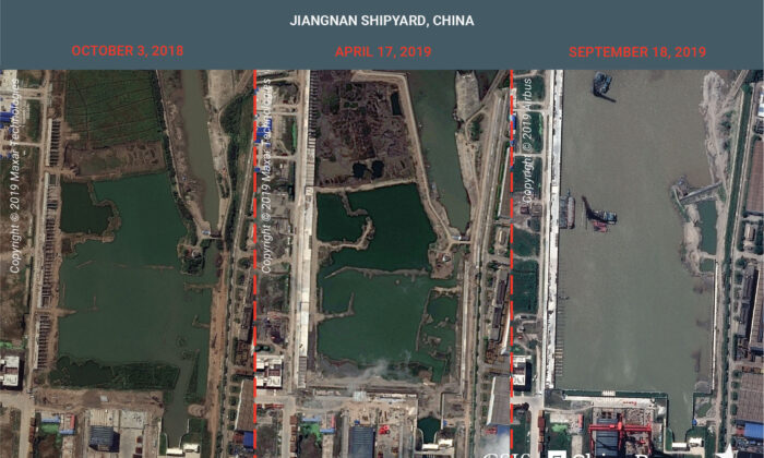 A combination image of satellite photos shows Jiangnan Shipyard in Shanghai, China on Oct. 3, 2018, April 17, 2019 and Sept. 18, 2019. (CSIS/ChinaPower/Maxar Technologies and Airbus 2019/Handout via Reuters)