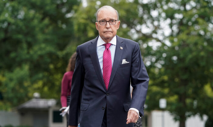 Director of the National Economic Council Larry Kudlow arrives to speak to the media at the White House in Washington, D.C. on Sept. 6, 2019. (Joshua Roberts/Reuters)