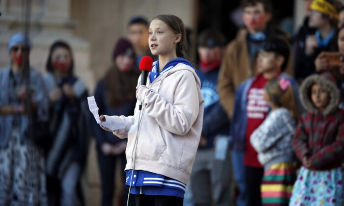 Swedish climate change activist Greta Thunberg speaks at a climate strike rally in Denver, Colorado, on Oct. 11, 2019. (AP Photo/David Zalubowski)