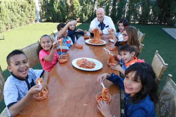 Serato feeding the children