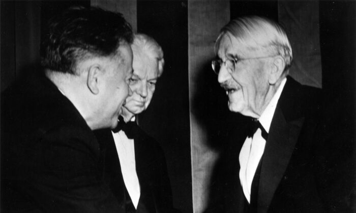 Labor leader David Dubinsky (L) greets John Dewey (R) on his 90th birthday on Oct. 20, 1949. William H. Kilpatrick, professor emeritus of education at Columbia University, looks on.  (Kheel Center, Cornell University Library/CC BY 2.0)