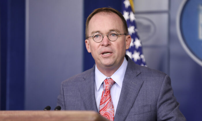 White House Chief of Staff Mick Mulvaney briefs media at the White House in Washington on Oct. 17, 2019. (Charlotte Cuthbertson/The Epoch Times)