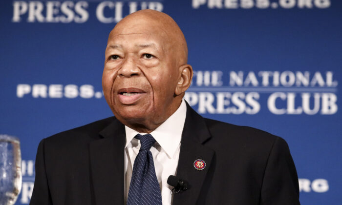 Rep. Elijah Cummings (D-Md.) speaks at the National Press Club in Washington on Aug. 7, 2019. (Samira Bouaou/The Epoch Times)