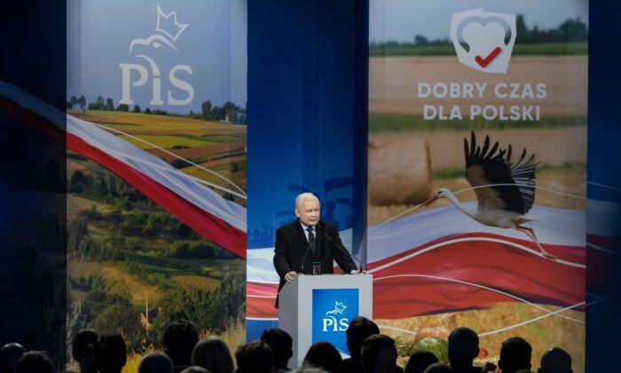 Jaroslaw Kaczynski, leader of Poland's ruling Law and Justice (PiS) party, speaks during the party's campaign convention in Kielce, Poland, on Oct. 9, 2019. (WOJTEK RADWANSKI/AFP via Getty Images)