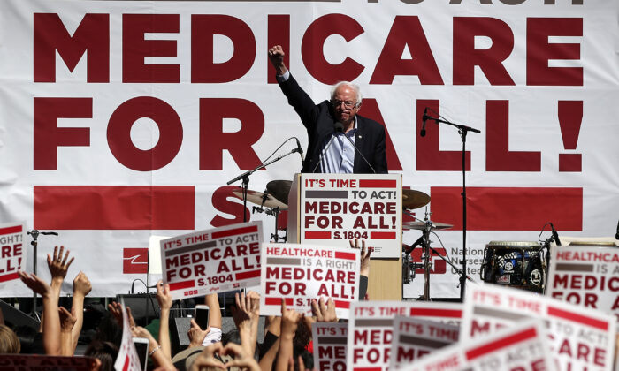 Sen. Bernie Sanders (I-Vt.) speaks during a health care rally in San Francisco on Sept. 22, 2017. (Justin Sullivan/Getty Images)