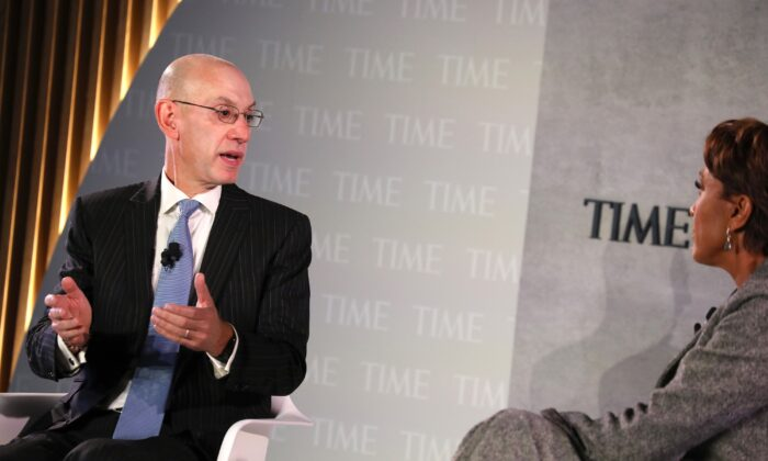 NBA Commissioner Adam Silver (L) speaks onstage during the TIME 100 Health Summit at Pier 17 in New York City on Oct. 17, 2019. (Photo by Brian Ach/Getty Images for TIME 100 Health Summit )