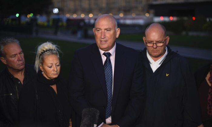 Family spokesman Radd Seiger speaks to the media on behalf of the parents of Harry Dunn, Tim Dunn, and Charlotte Charles, after meeting with Foreign Secretary Dominic Raab in London, England, on Oct. 9, 2019. (Peter Summers/Getty Images)