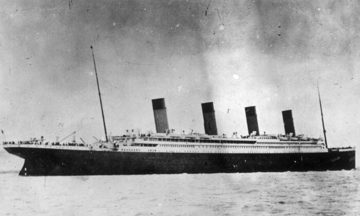 1912:  The ill-fated White Star liner RMS Titanic, which struck an iceberg and sank on her maiden voyage across the Atlantic.  (Photo by Hulton Archive/Getty Images)