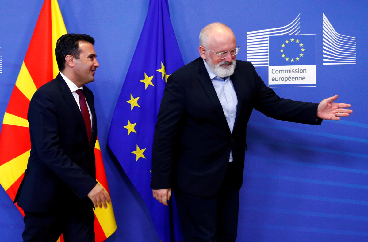 Macedonian Prime Minister Zoran Zaev smiles while European Commission Vice President Frans Timmermans gestures at the EU Commission headquarters in Brussels, Belgium October 17, 2019. (Francois Lenoir/Reuters, File Photo)