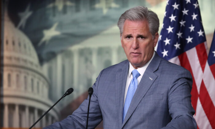 House Minority Leader Kevin McCarthy (R-Calif.) speaks at a press conference on Capitol Hill in Washington on Oct. 18, 2019. (Mark Wilson/Getty Images)