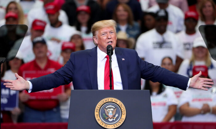 "President Donald Trump speaks during a ""Keep America Great"" Campaign Rally at American Airlines Center in Dallas, Texas, on Oct. 17, 2019. (Tom Pennington/Getty Images)"