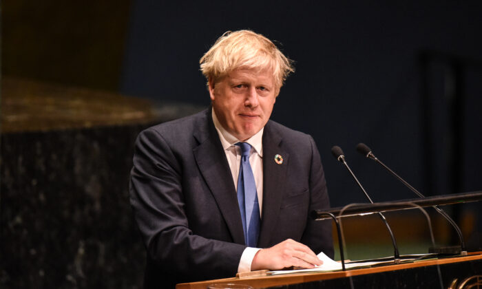 British Prime Minister Boris Johnson speaks at the United Nations General Assembly at the United Nations on Sept. 24, 2019 in New York City. (Stephanie Keith/Getty Images)