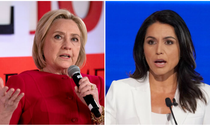 (L) Former US Secretary of State Hillary Clinton speaks during the Time 100 Summit event on April 23, 2019, in New York. (Don Emmert/AFP/Getty Images) (R) Democratic presidential candidate Rep. Tulsi Gabbard speaks during the fourth U.S. Democratic presidential candidates 2020 election debate in Westerville, Ohio, U.S., Oct. 15, 2019. (Shannon Stapleton/Reuters)