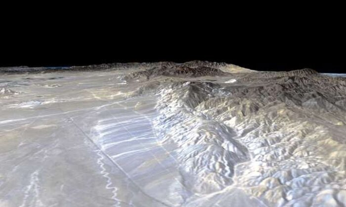 Perspective view of the Garlock Fault. (NASA)