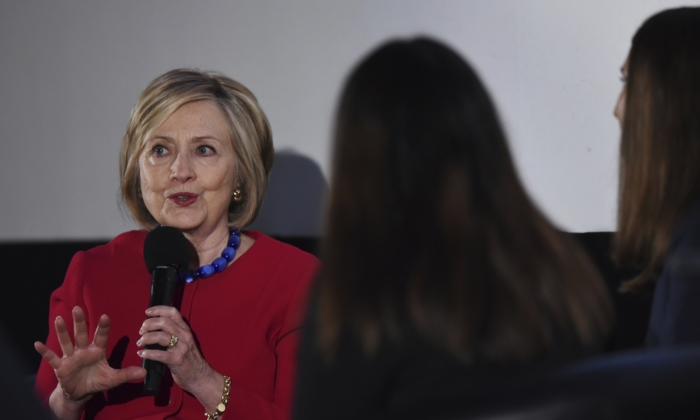 Former Secretary of State Hillary Clinton answers a question posed by student journalists during the Trailblazing Women of Park Ridge event in Park Ridge, Ill. on Oct. 11, 2019. (Joe Lewnard/Daily Herald via AP)