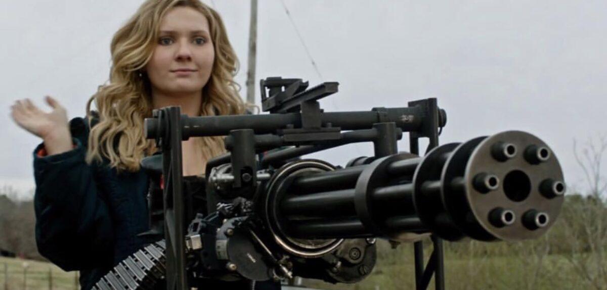 woman with Gatling gun