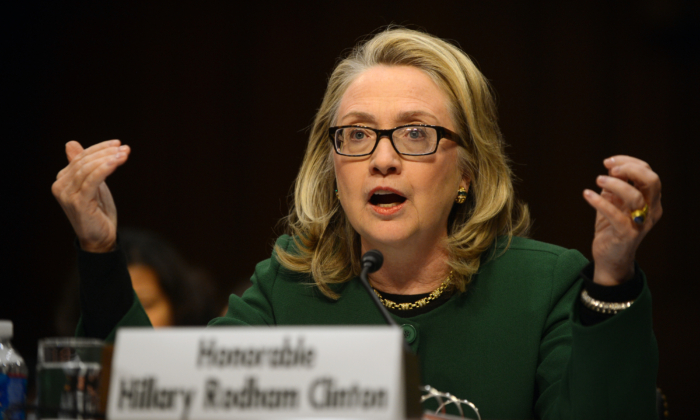 Secretary of State Hillary Clinton testifies before the Senate Foreign Relations Committee on the Sept. 11, 2012 attack on the US mission in Benghazi, Libya, during a hearing on Capitol Hill in Washington, on Jan. 23, 2013. (Saul Loeb/AFP/Getty Images)
