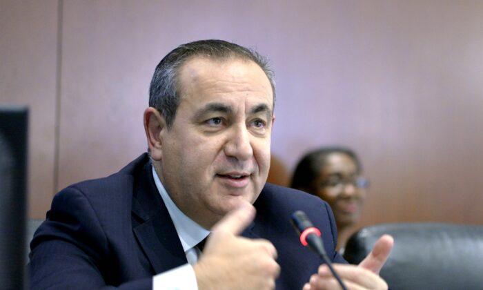 Maltese academic Joseph Mifsud during a meeting in Washington, on Nov. 12, 2014. (Juan Manuel Herrera/OAS via AP)