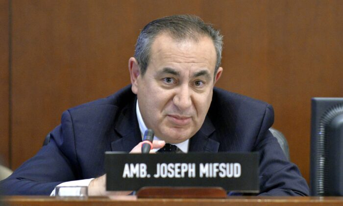 Maltese academic Joseph Mifsud during a meeting in Washington on Nov. 12, 2014. (Juan Manuel Herrera/OAS via AP)