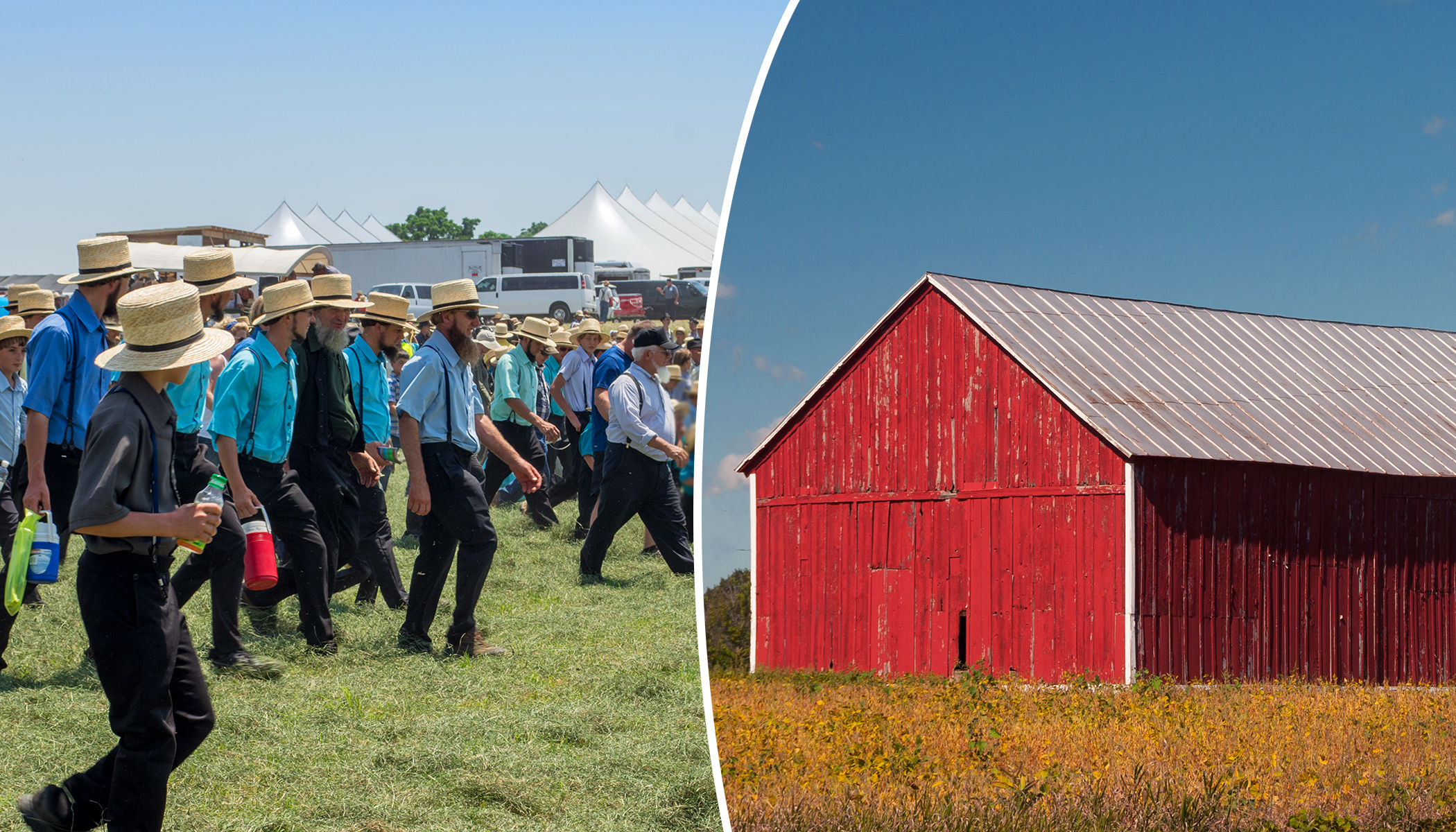 Watch in Awe As 250 Amish Men 'Help Move' by Lifting a Barn With Their Bare Hands