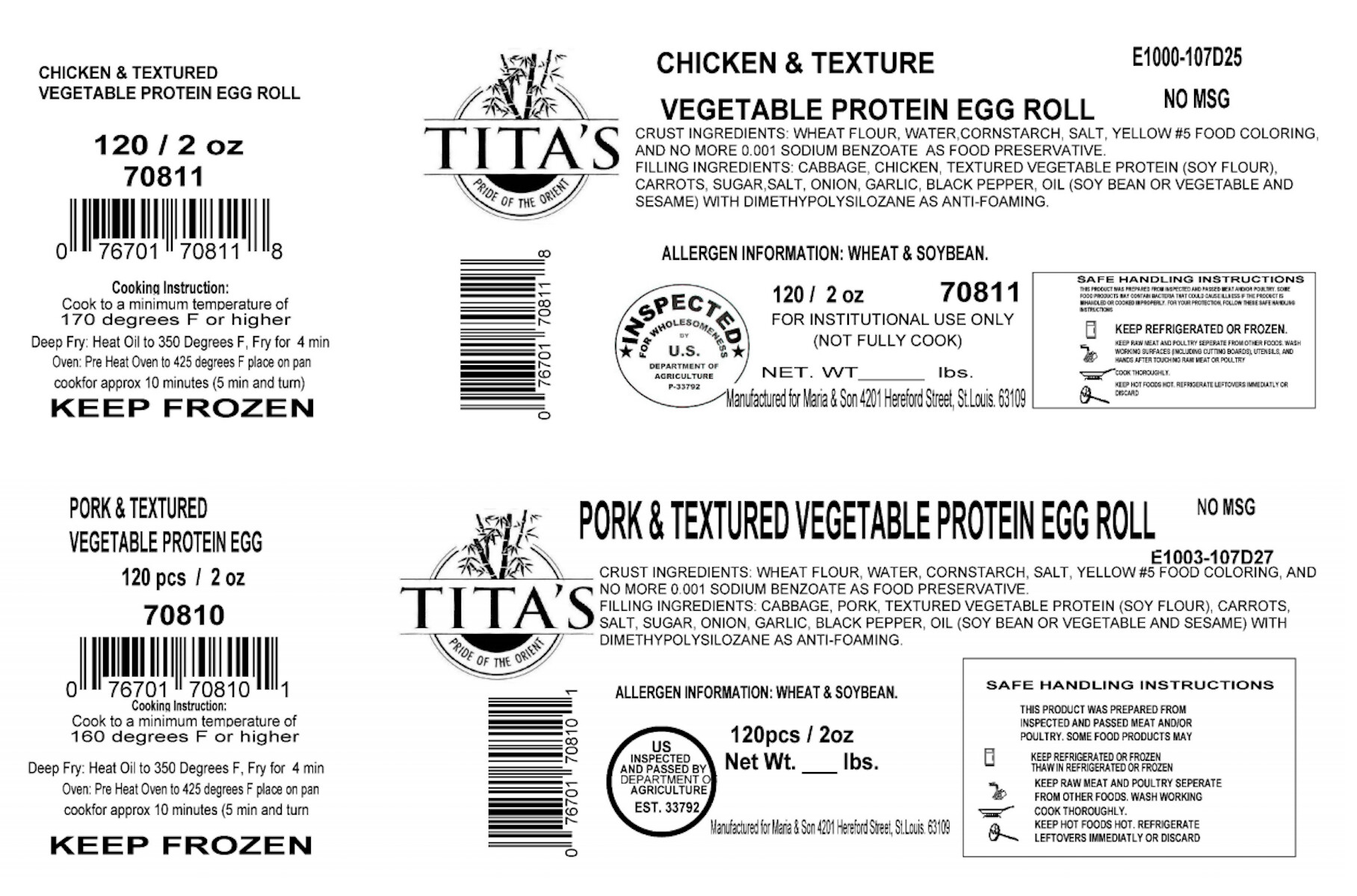 meat and poultry egg rolls recalled