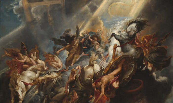 """""""The Fall of Phaeton,"""" circa 1604/1605, by Sir Peter Paul Rubens, probably reworked circa 1606/1608. Oil on Canvas, 38.75 inches by 51.63 inches. National Gallery of Art, Washington D.C. (Public Domain)"""