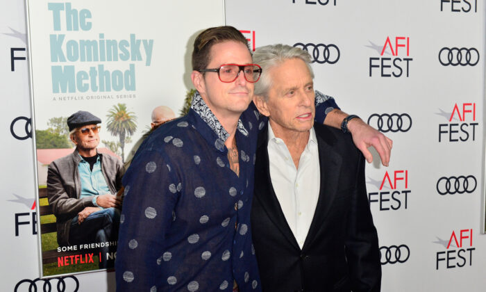 "Cameron Douglas (L) and Michael Douglas attend the Gala Screening of ""The Kominsky Method"" at AFI FEST 2018 Presented By Audi at TCL Chinese Theatre on November 10, 2018 in Hollywood, California.  (Photo by Jerod Harris/Getty Images)"