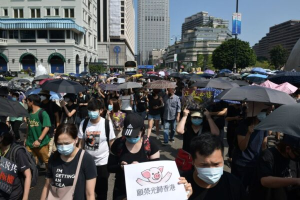 Thousands of Hong Kongers March Despite Police Ban, Days After Assault on Prominent Activist GettyImages-1176911996-600x400
