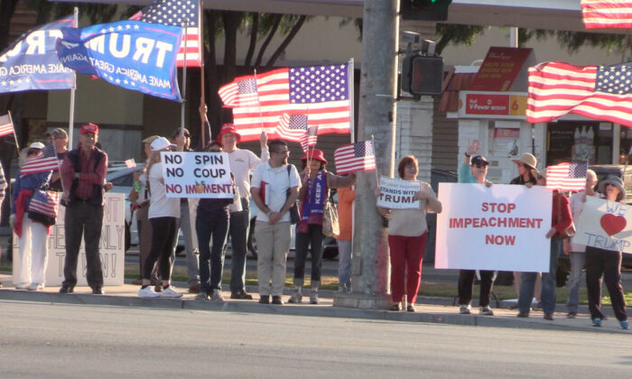 Silicon Valley residents rally against presidential Impeachment in San Jose on Oct. 17. (Nathan Su/The Epoch Times)