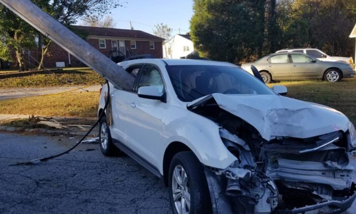 Police in Thomasville, N.C., said a parent dropped their child off at school before they accidentally crashed into a utility pole. (Thomasville Police Department)