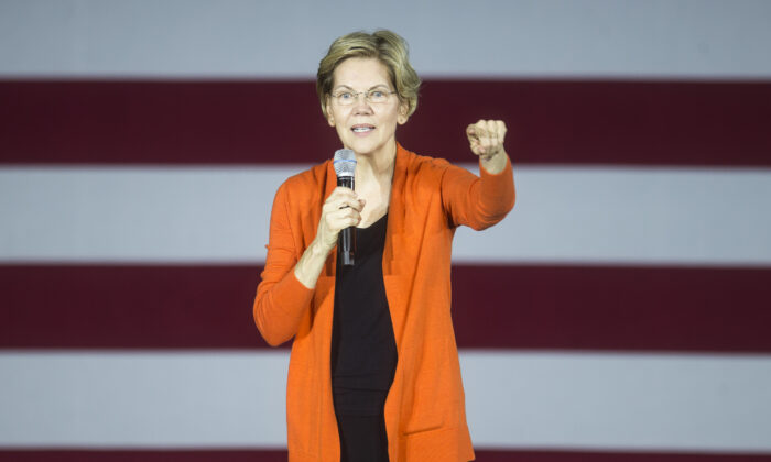 Democratic presidential candidate Sen. Elizabeth Warren (D-Mass.) speaks during a town hall event in Norfolk, Virginia, in an Oct. 18, 2019, file photograph. (Zach Gibson/Getty Images)
