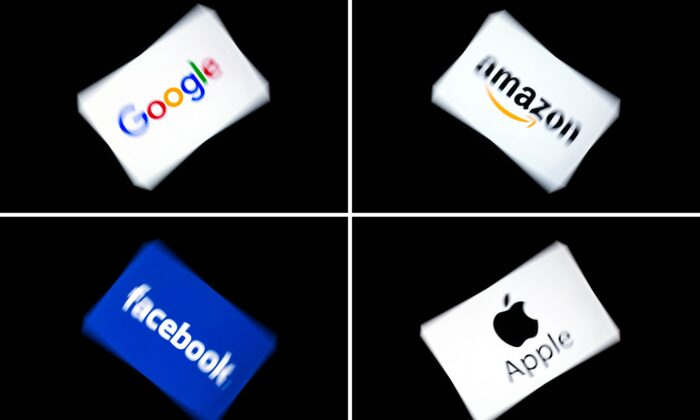 (COMBO) This combination of pictures shows the logos of Google, Amazon, Facebook and Apple, displayed on a tablet in Paris, on Feb. 18, 2019. (LIONEL BONAVENTURE/AFP/Getty Images)