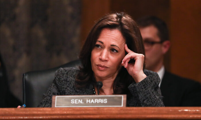 Sen. Kamala Harris (D-Calif.) at a Senate Homeland Security hearing on April 9, 2019. (Charlotte Cuthbertson/The Epoch Times)