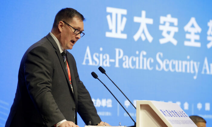U.S. Deputy Assistant Defense Secretary for China Chad Sbragia speaks during a meeting on Asia-Pacific Security Architecture at the Xiangshan Forum in Beijing, China on Oct. 21, 2019. (Jason Lee/Reuters)