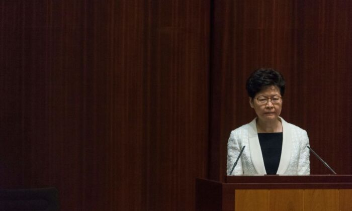 Hong Kong leader Carrie Lam attends a question and answer session at the Legislative Council (Legco) in Hong Kong on Oct. 17, 2019. (Philip Fong/AFP via Getty Images)
