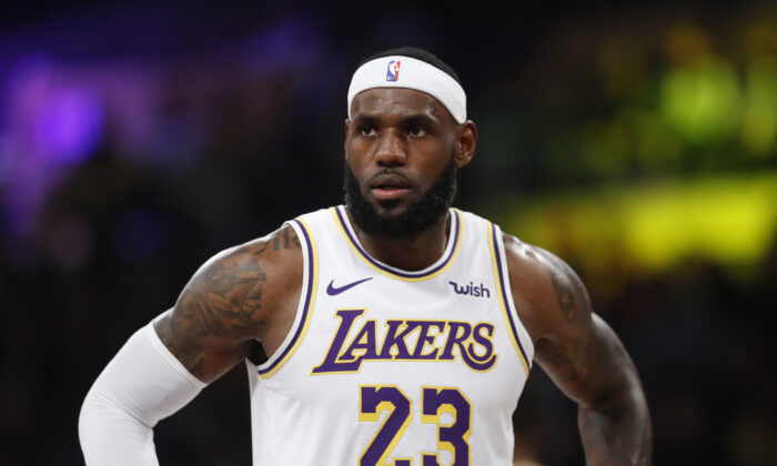 LeBron James #23 of the Los Angeles Lakers looks on during the first half of a game against the Golden State Warriors in Los Angeles on Oct. 16, 2019. (Sean M. Haffey/Getty Images)