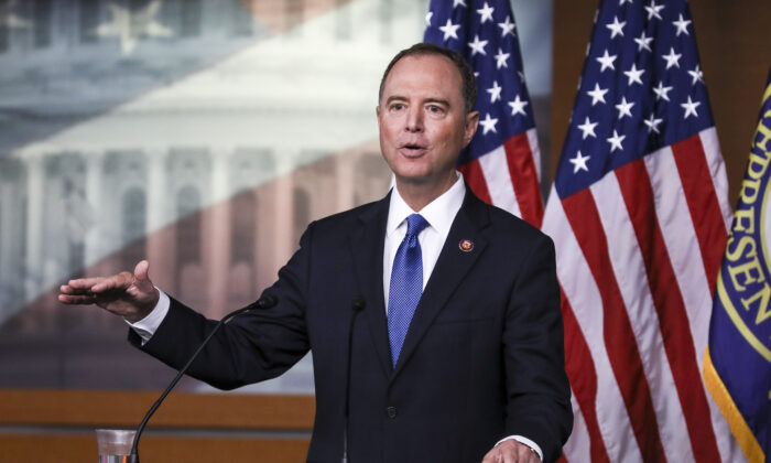 House intelligence chairman Rep. Adam Schiff (D-Calif.) at a press conference about the impeachment inquiry of President Trump, at the Capitol in Washington on Oct. 2, 2019.