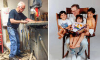 Dad Builds Triple-seater Rocking Chair So That He Can Read to His 3 Children