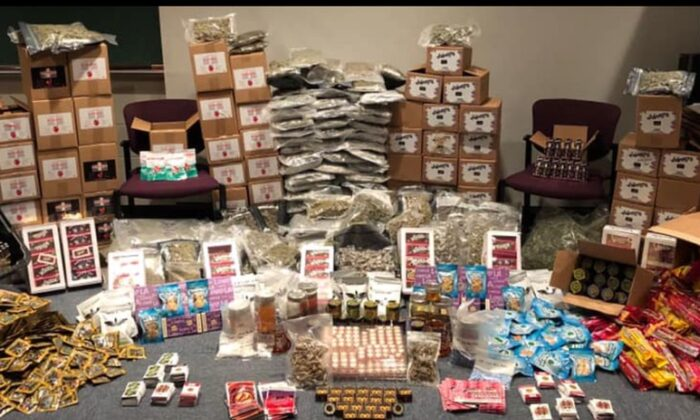 "Peabody police arrested a man and made a major seizure of ""illegal marijuana products"" over the weekend (Peabody Police Dept)"