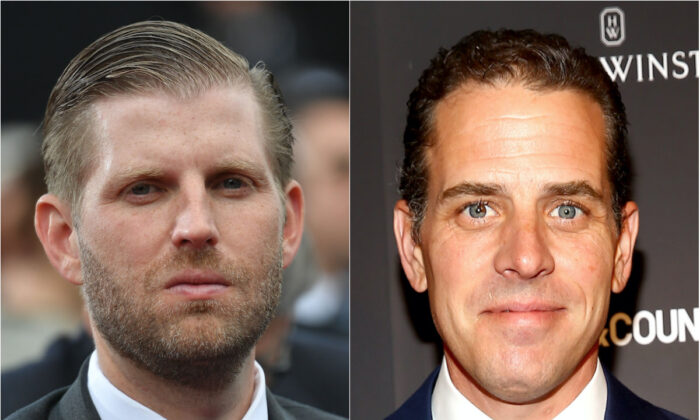 (L): Businessman and son of the president Eric Trump in a 2019 file photograph. (Mandel Ngan/AFP/Getty Images) (R): Hunter Biden in a 2014 file photograph. (Astrid Stawiarz/Getty Images for Town & Country)