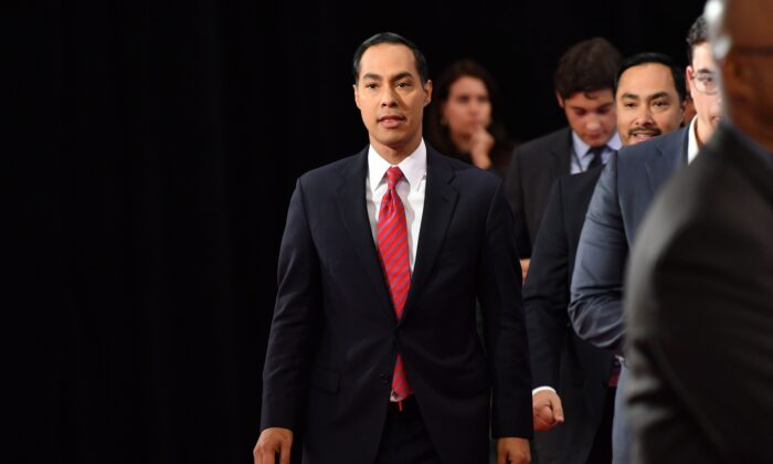 Democratic presidential hopeful and former United States Secretary of Housing and Urban Development Julian Castro at the fourth Democratic primary debate of the 2020 presidential campaign season in Westerville, Ohio, on Oct. 15, 2019. (Photo by Nicholas Kamm/AFP via Getty Images)