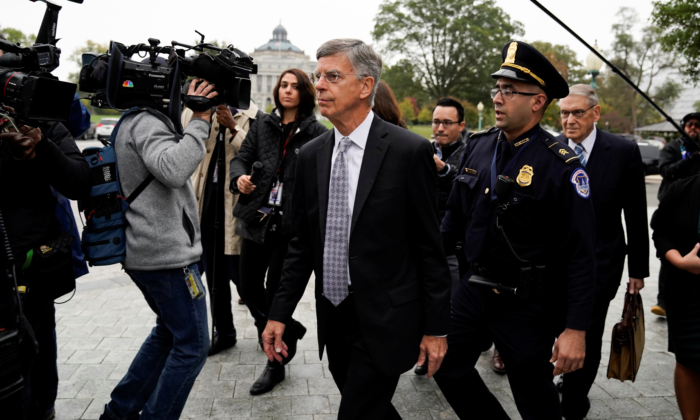 Acting U.S. ambassador to Ukraine Bill Taylor arrives to testify at a closed-door deposition as part of the Democrat-run impeachment inquiry on Capitol Hill in Washington on Oct. 22, 2019. (Carlos/Jasso)
