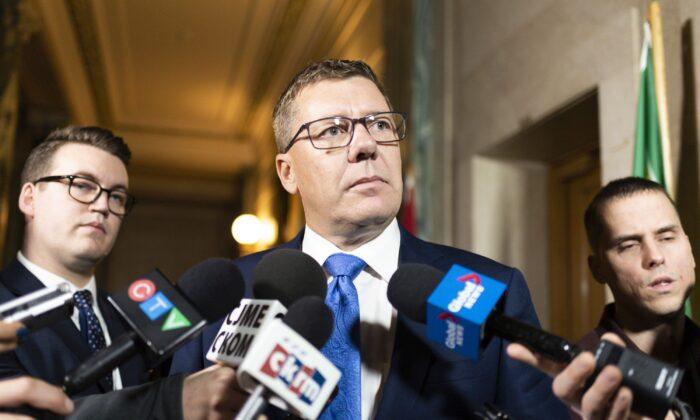 Saskatchewan Premier Scott Moe speaks to media following the 2019 federal election, at the Legislative Building in Regina on Oct. 22, 2019. (THE CANADIAN PRESS/Michael Bell)